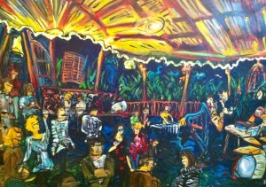 This painting of The Stockade's side patio was painted by Alex Harvie at our recent Spontaneous Combustion event