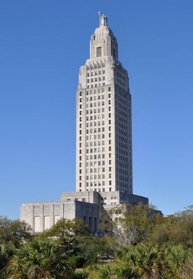 Baton Rouge State Capitol against blue sky