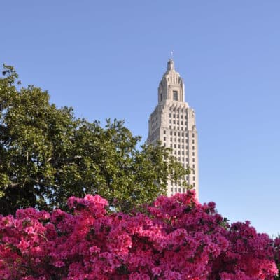 Louisiana State Capitol against blue sky with green trees and pink flowers