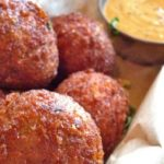 Boudin balls deep fried with dipping sauce