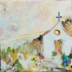 abstract painting of white chapel