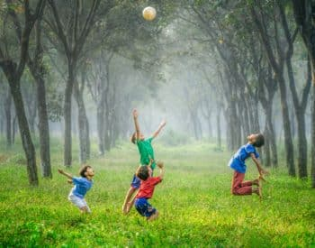 Children playing ball in field between trees