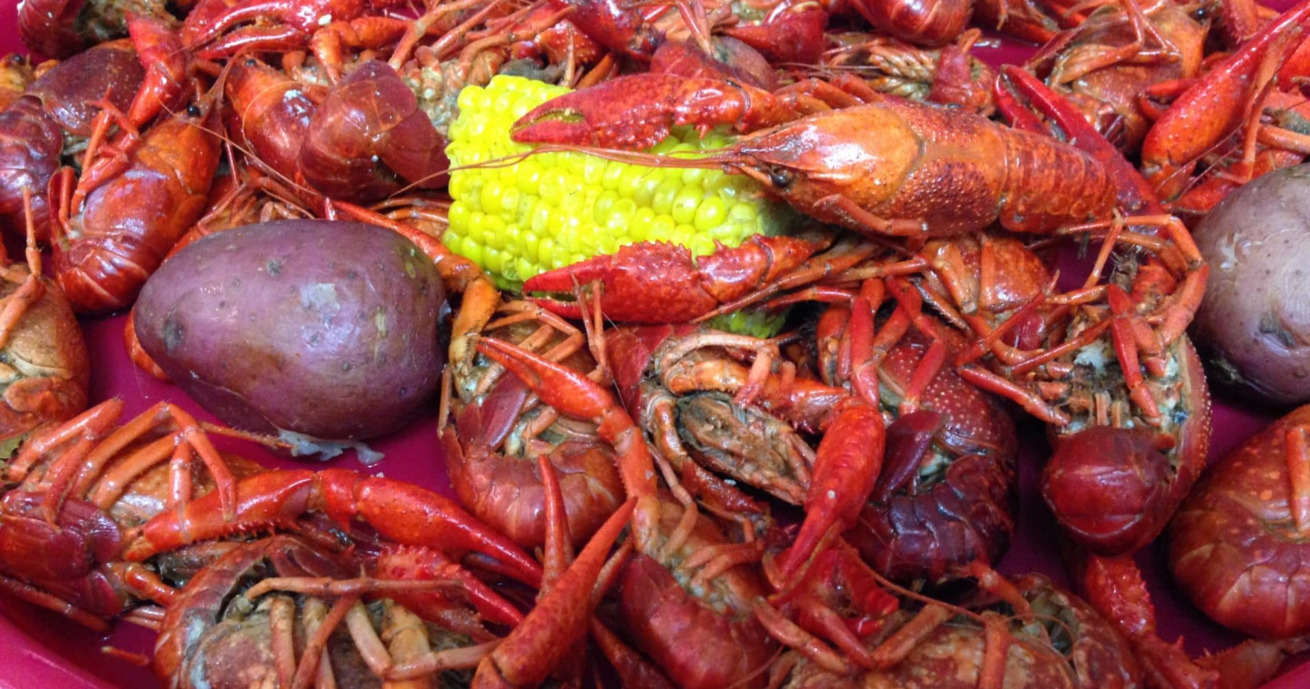 Boiled crawfish, potatoes, corn in a red platter