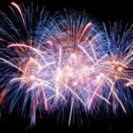 blue, pink orange fireworks on black background