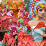 Float in Mardi Gras parade with orange costumes