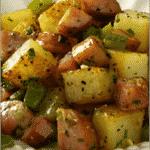 Brown potatoes cut in cubes