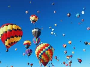 Hot Air Balloons against a blue sky