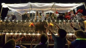 Krewe of Southdowns Mardi Gras Float in parade
