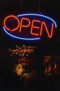 Open sign in lights
