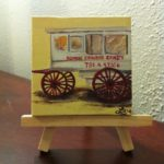Painting of candy wagon on yellow background