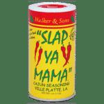 Yellow and red container of Slap Ya Mama seasoning