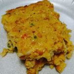 slice of crawfish cornbread