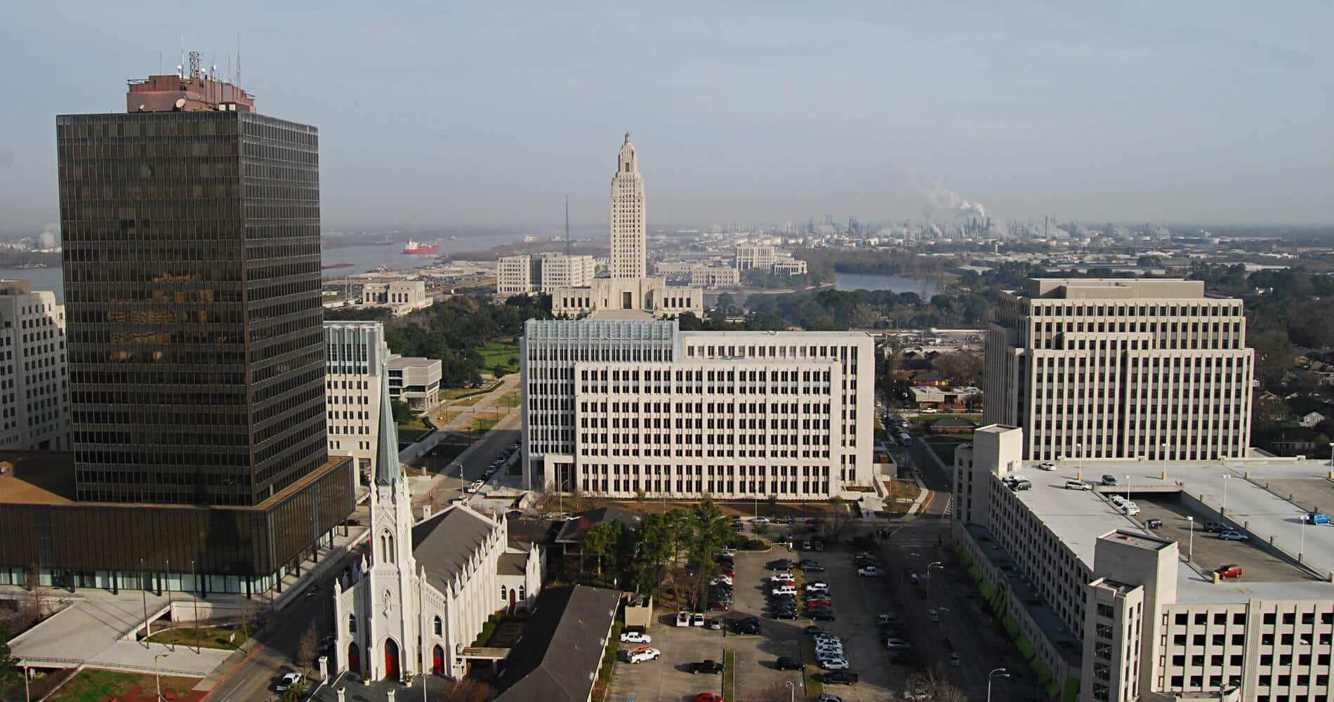 Ariel view of the city of Baton Rouge, Louisiana - large buildings with an ornate white cathedral