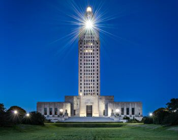 Exterior of Louisiana State Capitol Building at night