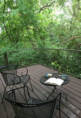 Balcony with green railing, two chairs and table, overlooking trees, with 2 mugs and a book